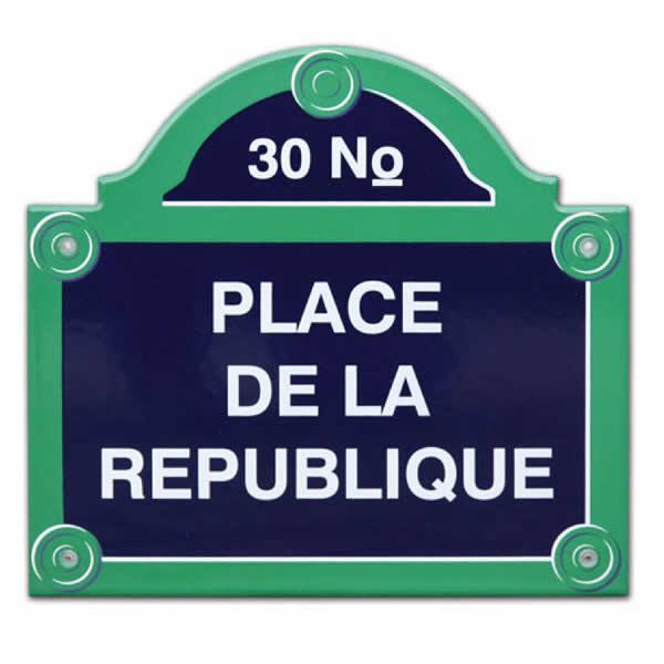 Emaille huisnummer met naam Parijs