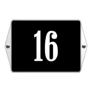 Emaille huisnummer met oor Zwart-Wit (19x12 cm)