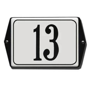 Emaille huisnummer met oor kader Wit-Zwart (19x12 cm)