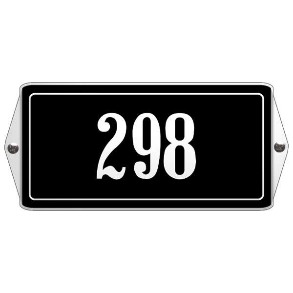 Emaille huisnummer met oor kader Zwart-Wit (19x12 cm)