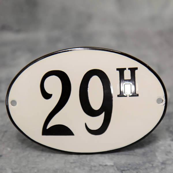Emaille huisnummer ovaal met rand (12x8 cm)